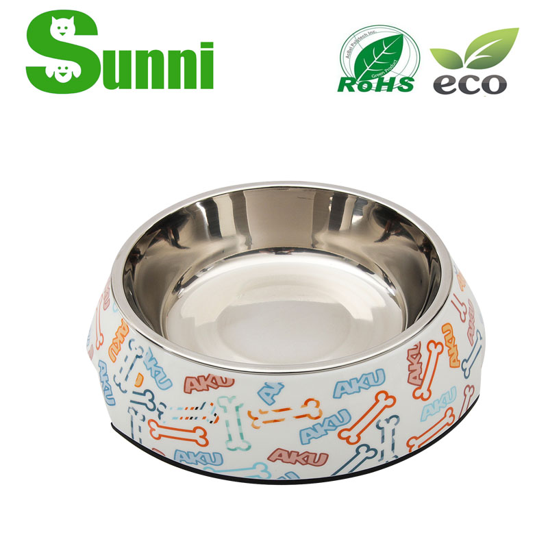 PET hot sale cartoon melamine dog bowl stand high quality