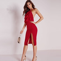 MS68564W color red open leg sexy clothes for women party dress