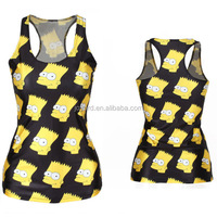 printing black and yellow tank top bodybuilding sublimation tank top
