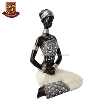Handmade decorative products resin black woman figurine