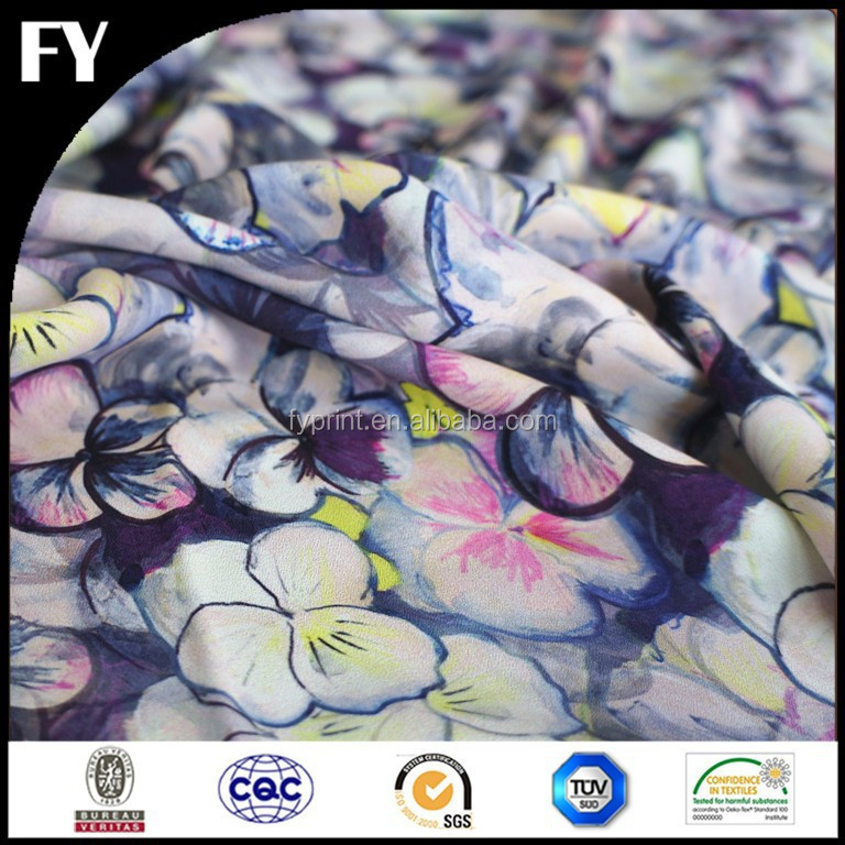 Alibaba No.1 Custom Digital Printed silk fabric