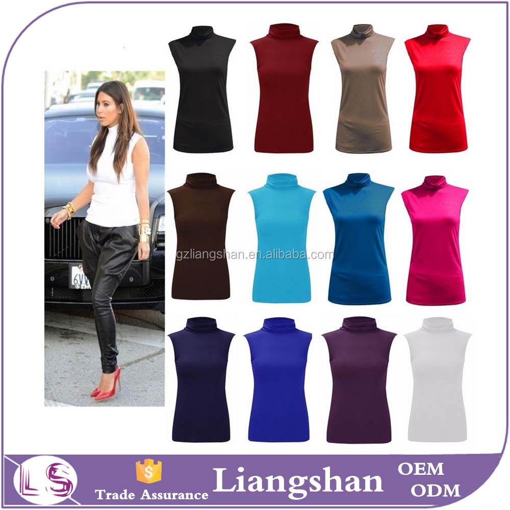 OEM Wholesale Ladies Polo Neck Girls Sexy Sleeveless Viscose Stretch Turtle Neck Jersey Basics Top