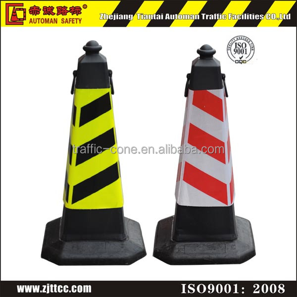 75cm PE square safety traffic cones black with reflective sleeves