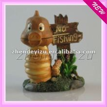 "Hot!!! aquarium new resin craft ornament,the resin decoration with ""No fishing "" logo"