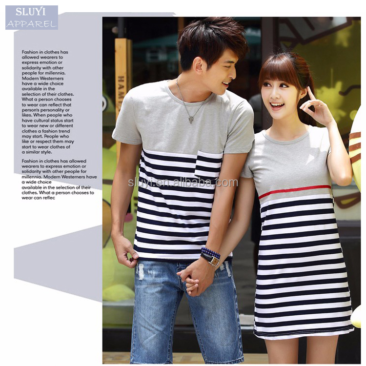 love couple t-shirt design Summer Cute Sweet Lovers Clothes Women And Men Casual Blue And White Striped cheap couple t shirts
