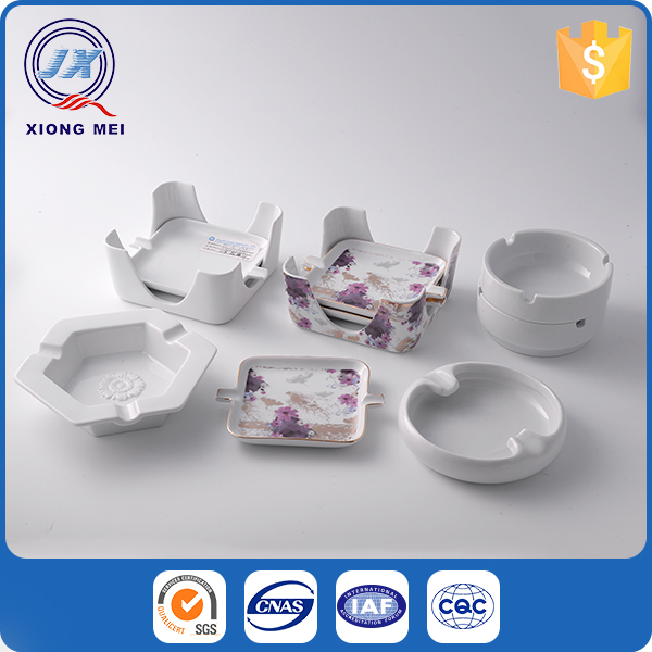 Popular restaurant eco friendly customized porcelain wholesale ashtray