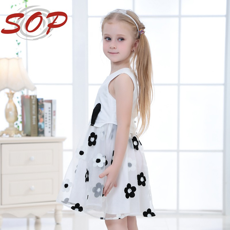 Wholesale New Fashion Kids Girl Clothing Boutique Childrens Dresses Organza Net Black Flower For Summer 2016