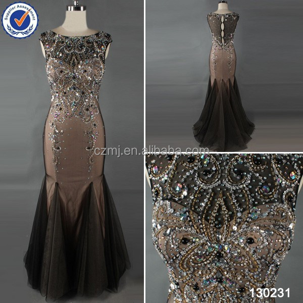 2014 factory directly supply beaded mermaid evening dress