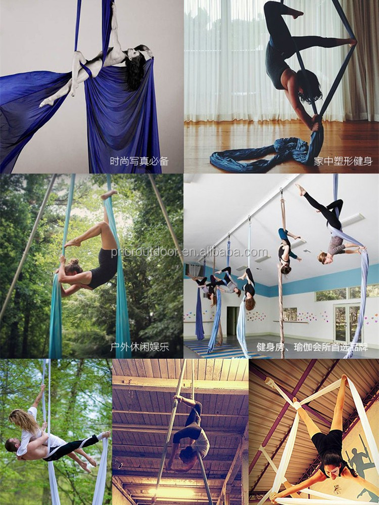 Wholesale High Strength 900KGS 10 Yards Aerial Silks Equipment,Yoga Hammock,Provide the full set accessories(see 18 colours)