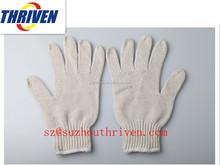 7 gauge 10 gauge safety cotton knitted white gloves for industrial use
