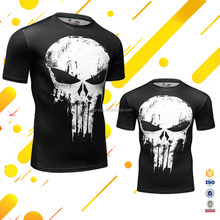 Marvel Comics Punisher Scratch Skull T Shirts Full Sublimation Short Sleeve Shirts With O Neck For Men