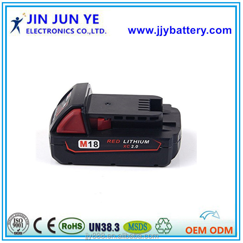 shenzhen hot sale 1.5AH 2.0AH 2.5AH battery for 18V Milwau power tools Milwaukee 48-11-1840 M18, tools batteries made in China
