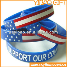 Custom adjustable funny souvenir silicone wristband, silicone bracelet with printing flag