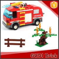ABS vivid 229 pcs fire man series the water spray fire truck building blocks toys