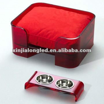 Square red lucite/acrylic pet/dog bed with red cushion and bowls Acrylic Pet Bed and Dining Table