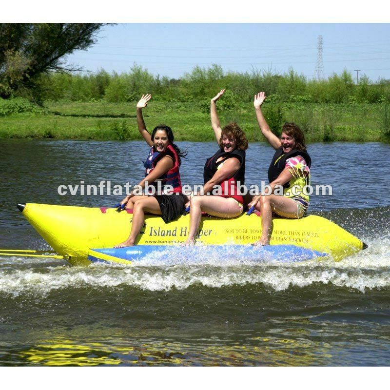high quality commercial or private inflatable 3 person banana pencil water sled boat