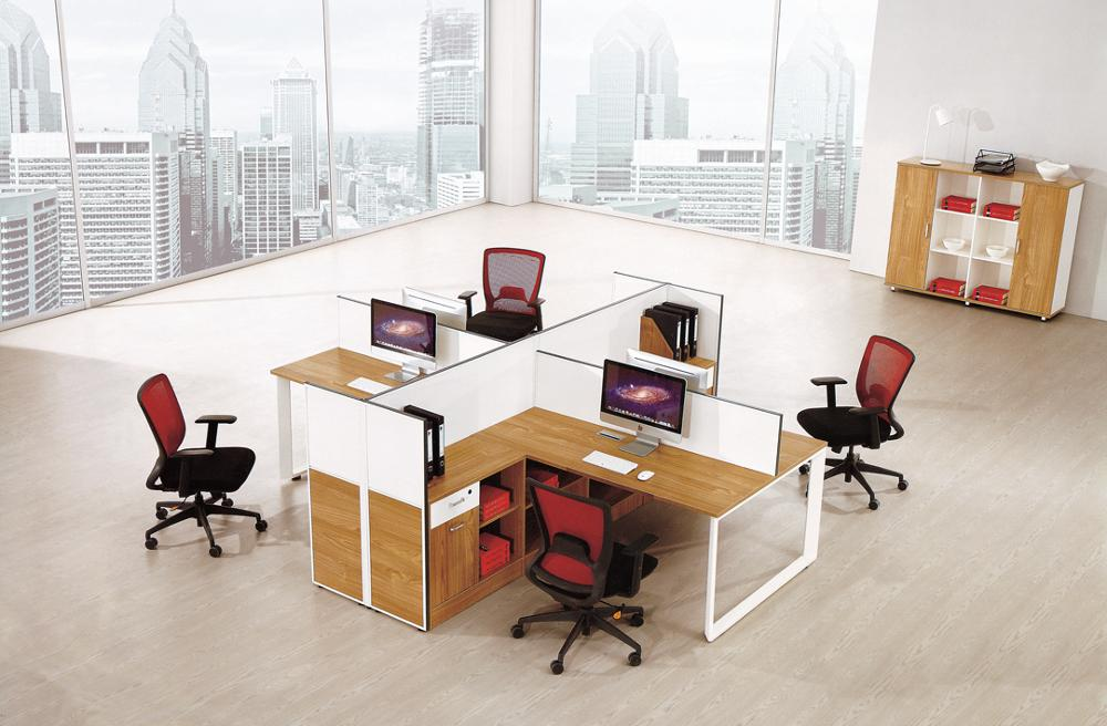 PT-23 Office Desk 4 Seater Workstation Computer Table With Cabinet and Sound-proof Screen