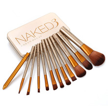 DHL Free Shipping Synthetic hair 12pcs professional rainbow wooden naked 3 makeup <strong>brush</strong>
