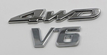 wholesale custom car emblem metal badge with 4WD and V6