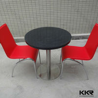 Solid surface kitchen table and chairs with red chairs