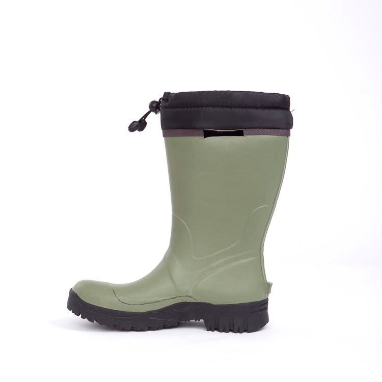 Customized Mens Neoprene Rubber Rains Boots With Cotton Fabric Lining
