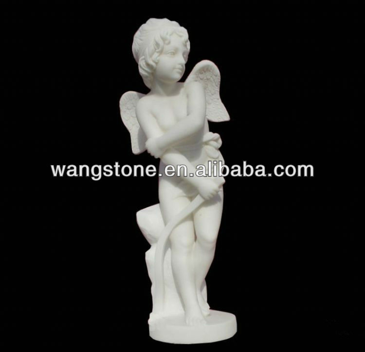 Little Boy Natural Granite Stone Angel Statue