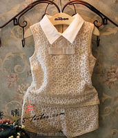 Girls small fragrant wind-dimensional embroidery lace vest + shorts suit