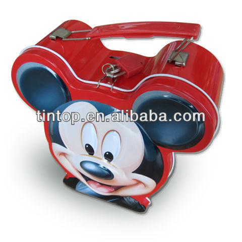 Tintop cartoon shape lunch tin box/metal case/aluminum box