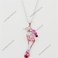 Zinc Alloy pink crystal foot shape necklace jewelry