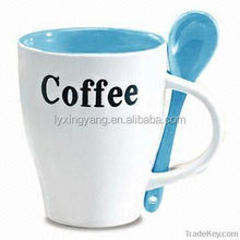 promotion custom printed coffee mugs with spoon, inside printed mug design your own travel mugs