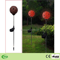 stained glass ball led solar light garden stake lawn lamp for home outdoor decoration