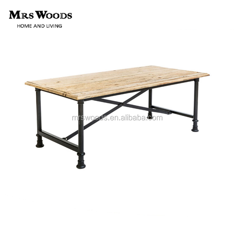 rectangular elm wood top iron frame coffee table with cross bars industrial coffee table