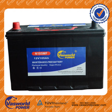 12V 105AH N105 used best car and truck battery wholesale cheap price