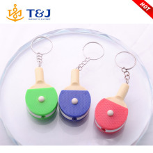 >>>>Wholesale Promotional cute keychain LED Ping pong paddle colorful plastic keychain