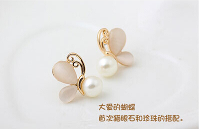 Fashion Gold Opal Earrings for Women 2016 Simulated Pearl Jewerly Butterfly Stud Boucle d'oreille