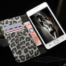 hight quality latest fashion hot selling leopard pattern book style wallet leather case for samsung galaxy s2