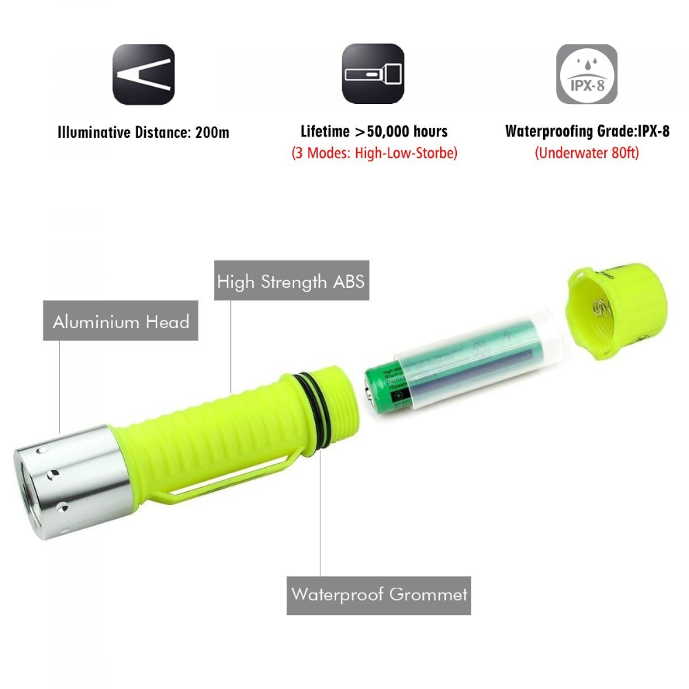 Super bright CREE T6 LED Diving Flashlight For Diving, climbing, camping, seeking survival, walking, diving