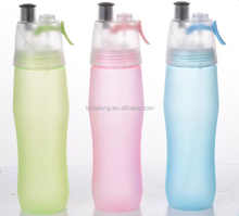 custom logo plastic spray drinking bottle, BPA FREE spray water bottle for sports