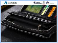 Hot selling universal smart phone wallet style genuine leather case