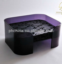 APB-039 Excellent Square Acrylic Pet Bed,Transparency Color Plastic Pet Bed,Home Dog Bed in Purple Color