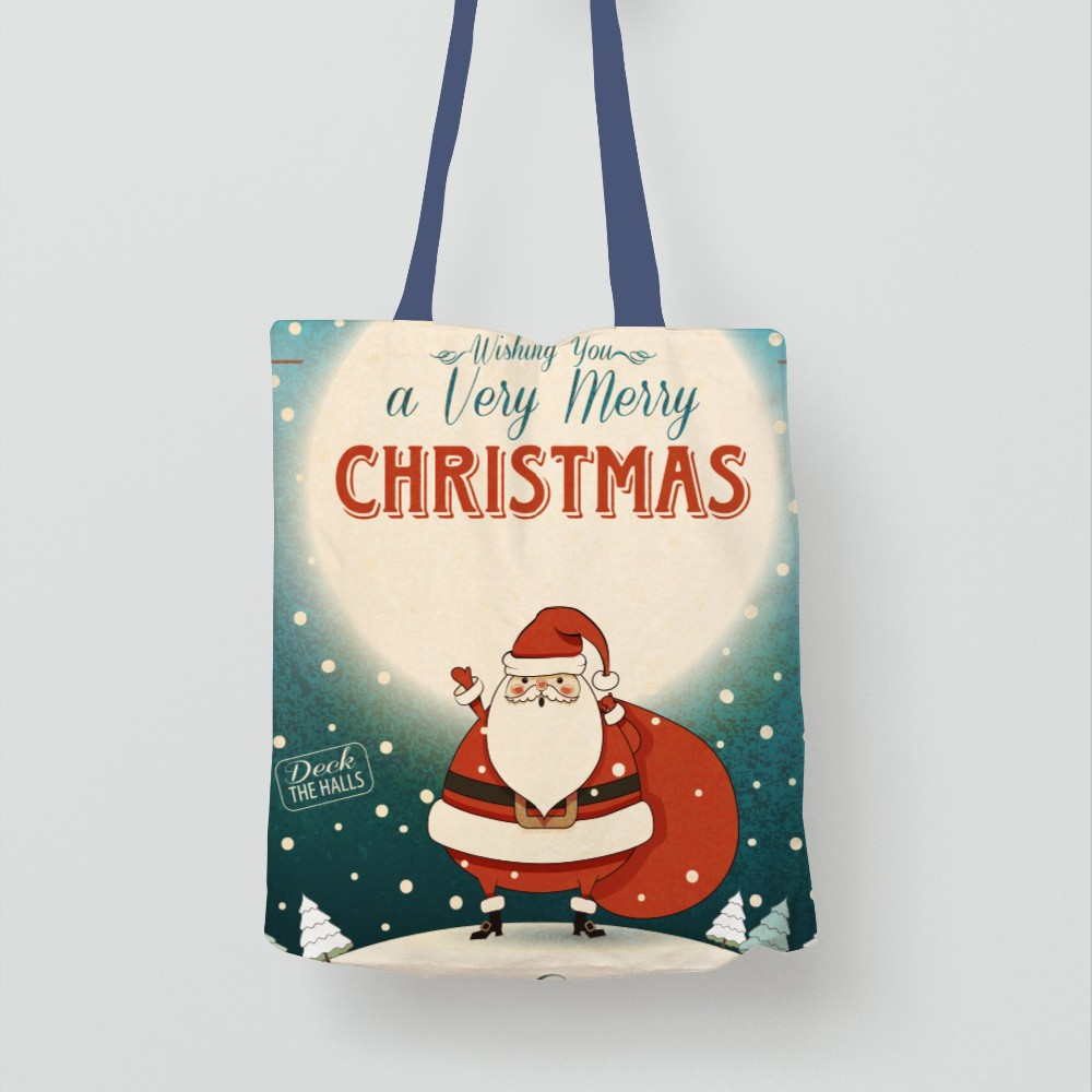 Factory Direct Sale Various Color Merry Christmas Tree Packaging Cotton Carry Tote Bags