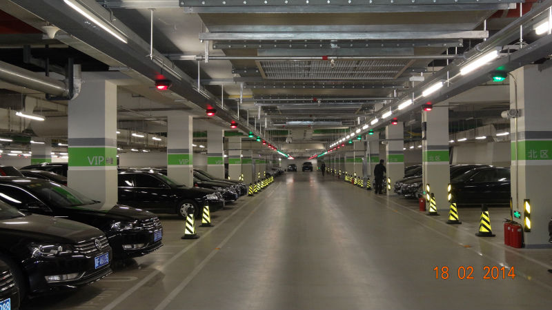 automatic vehicle tracking system with ANPR software and parking kiosk to find cars in the underground parking lots