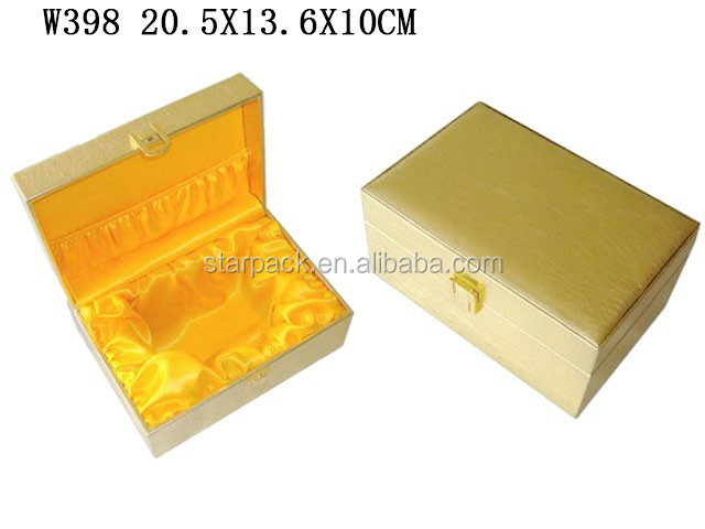Custom Luxury PU Leather Wooden Perfume Gift packaging Box With Gold satin W398