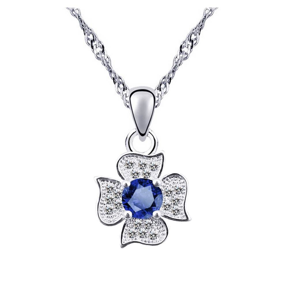 N092 AAA Zircon Clover Necklace Women Silver Plated Jewelry 2017 Fashion Cubic Zirconia Necklaces Pendants