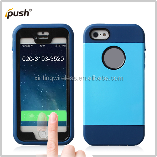 for iphone5 hot case, 2014 new pc and tpu case front with screen protector for iphone5, phone case for ipone5