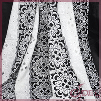 Black/white flower jacquard fabric, vintage cotton fabric lace fabric for sale