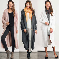 Women Sweaters Winter Cardigans Solid Lightweight Knitted Open Front Long Line Trench Coat Cardigan