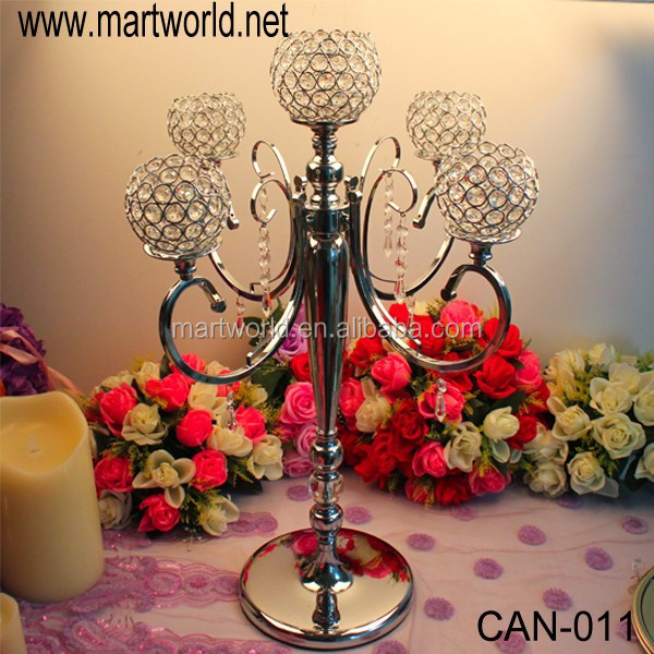 Tall crystal candelabra centerpiece wedding candle holder