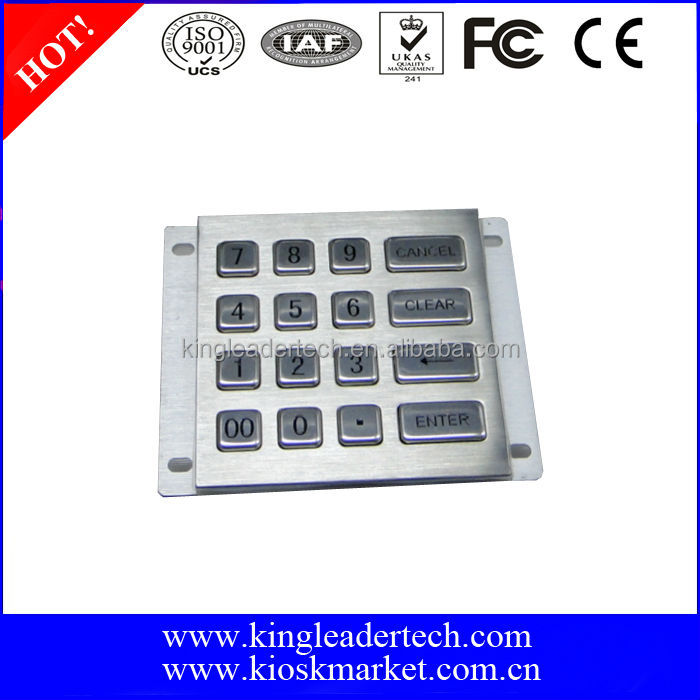 Indoor&outdoor access control USB rugged metal keypad with 16keys