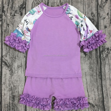 Back to school Wholesale baby clothing little girl boutique clothes with ruffle raglan top and shorts outfits